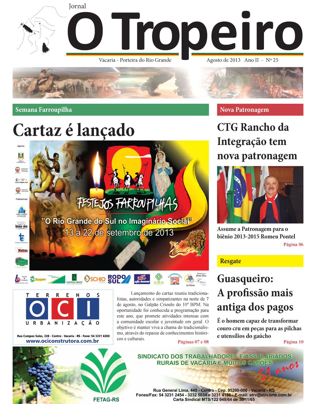 Jornal O Tropeiro de Agosto de 2013