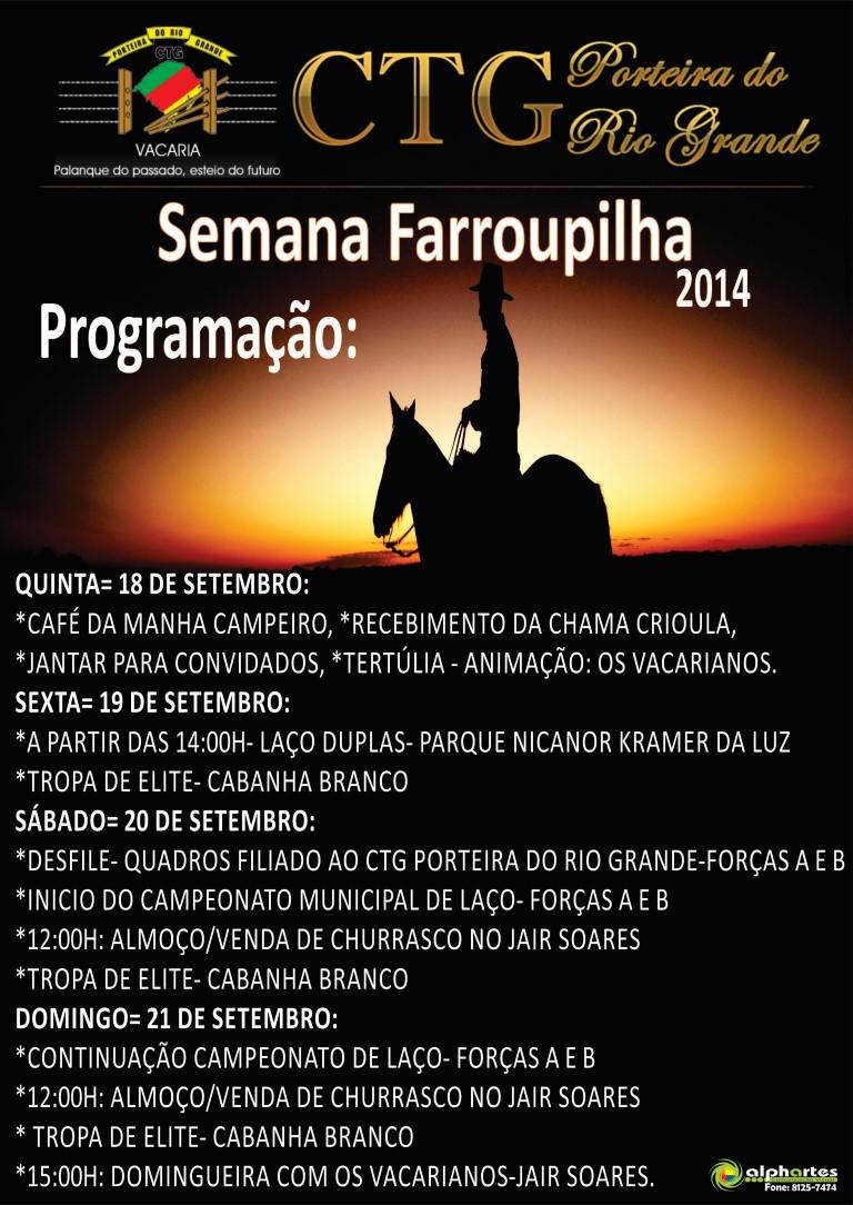 Definida a programação da semana Farroupilha 2014