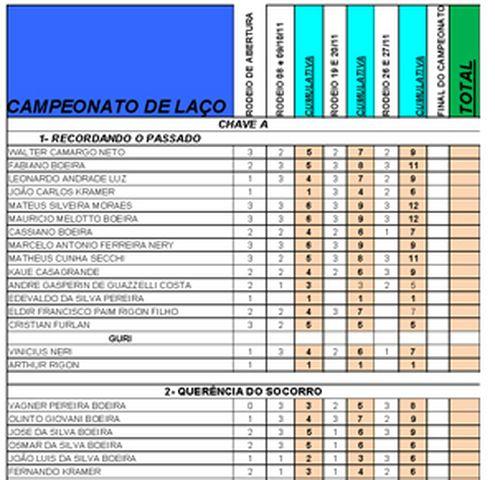 Campeonato de Laço 2011- Quadros e Laçadores